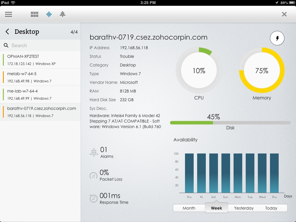 device snapshot page