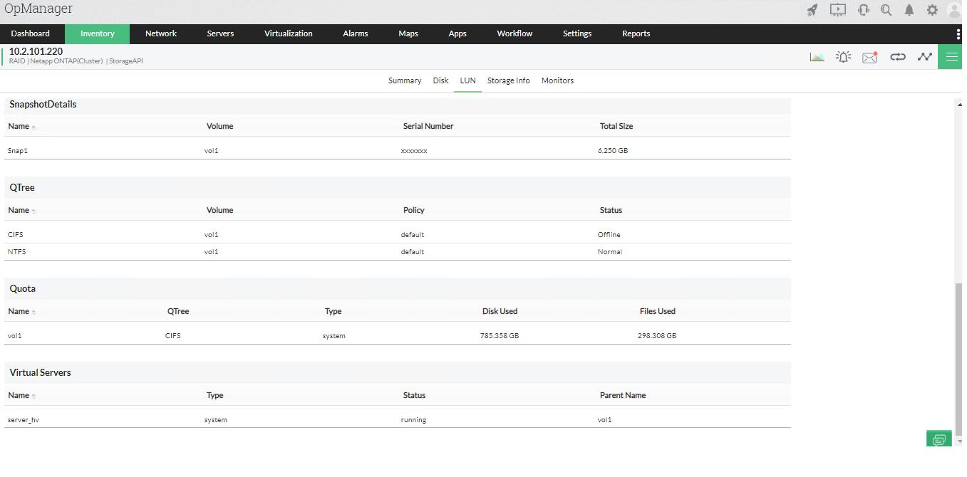 NetApp monitoring tool - ManageEngine OpManager