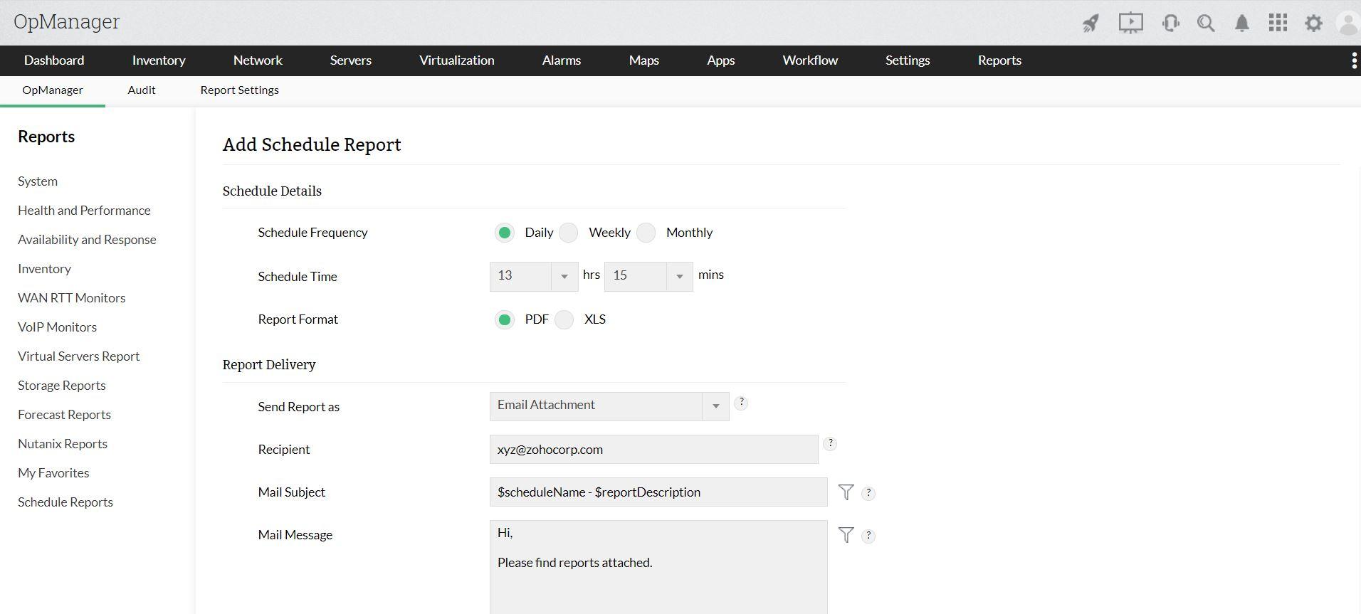 Network report schedules