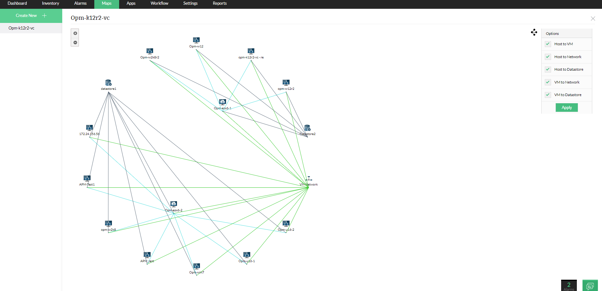 VM relationship mapping- A map displaying the relationship between VMs, networks and datastores | ManageEngine OpManager