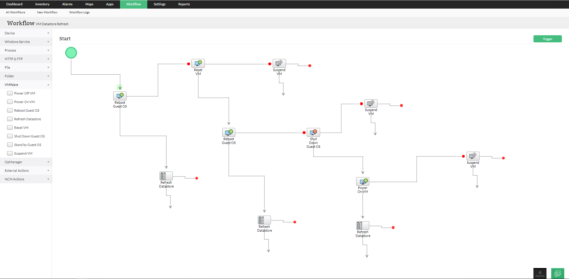 IT workflow automation- Refreshing VM datastores using IT workflow automation | ManageEngine OpManager