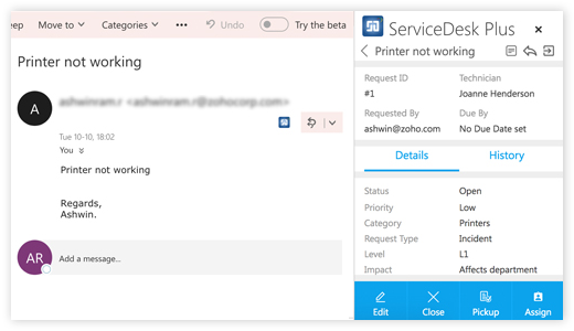 Self service integration with Microsoft Outlook