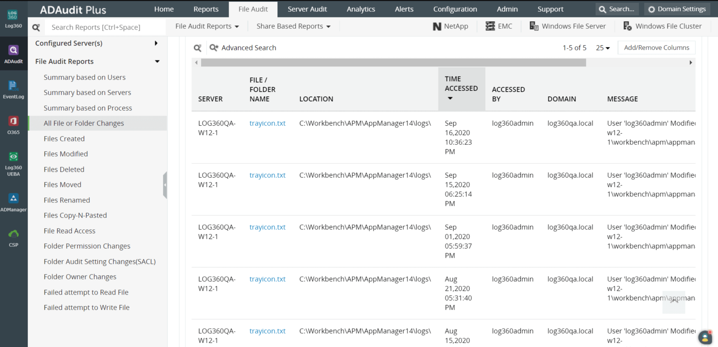 All file or folder changes report on ManageEngine's Log360