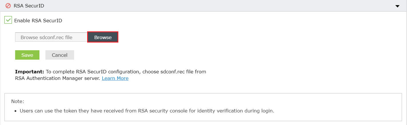 Two-factor Authentication RSA verification