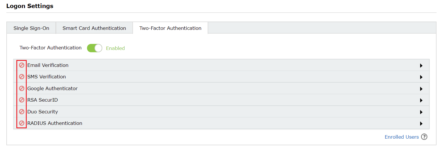 Two-factor Authentication list provided