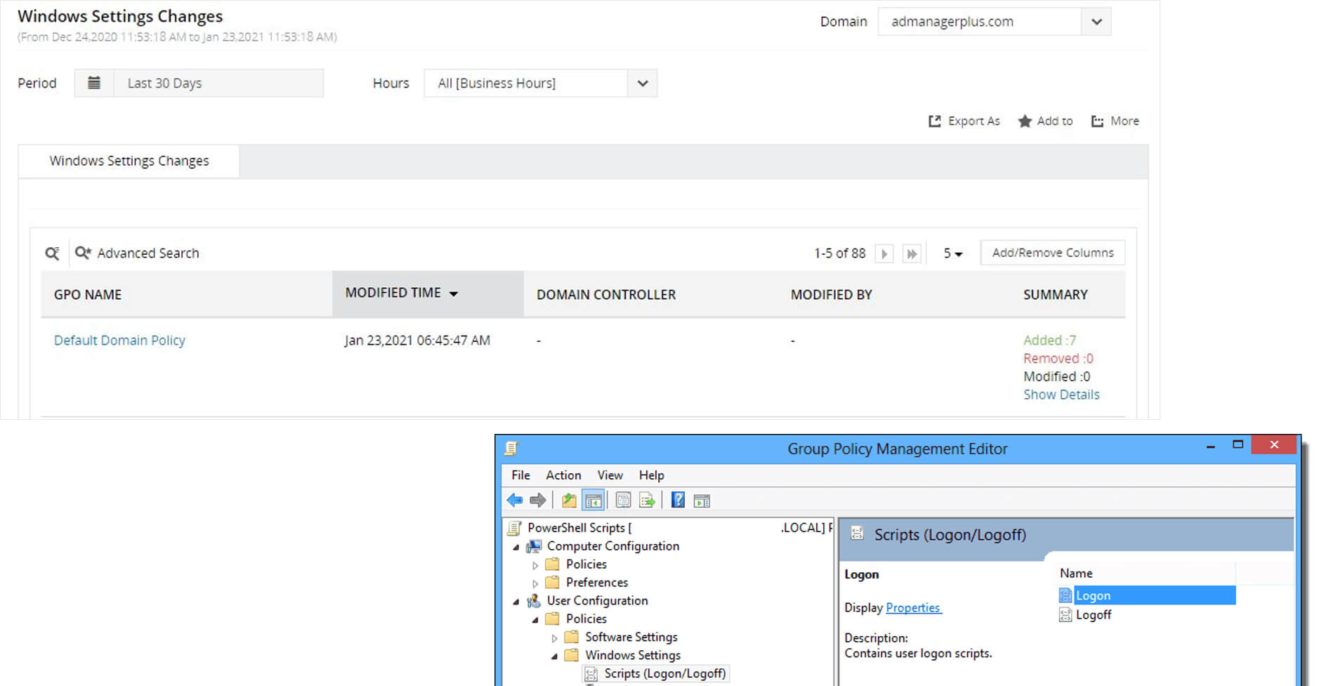 Capture backdoor script usage in Group Policy Objects (GPOs)( an attempt to capture user credentials)