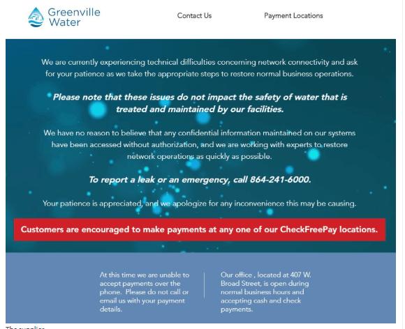 greenville water statement