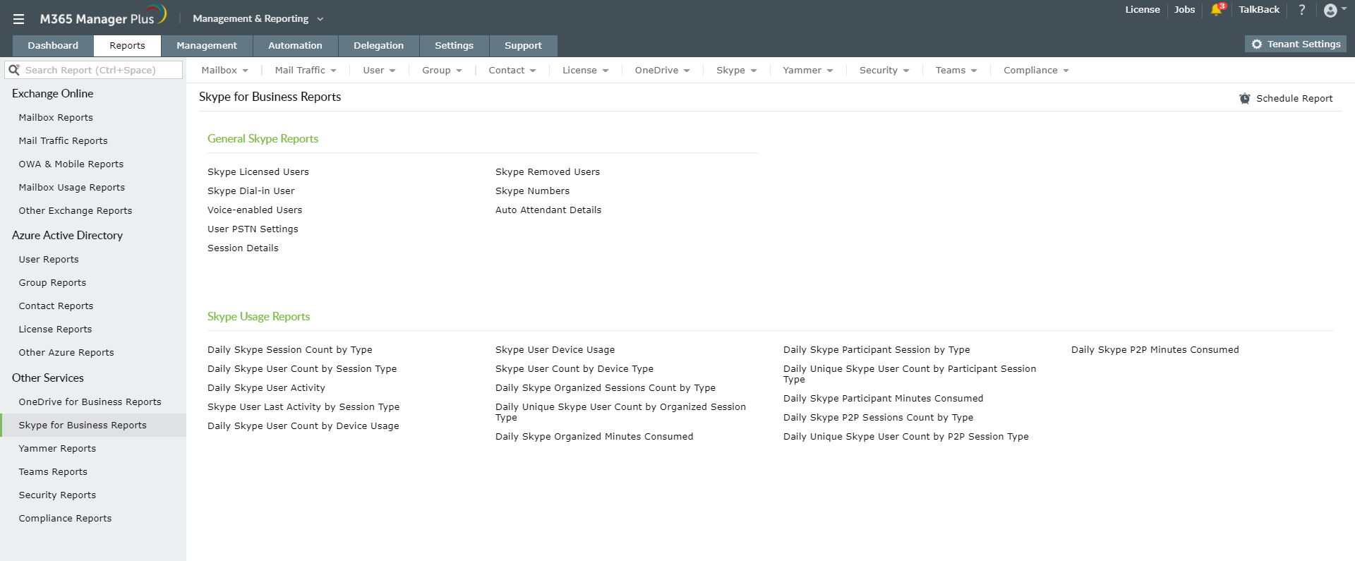 Skype For Business Reports