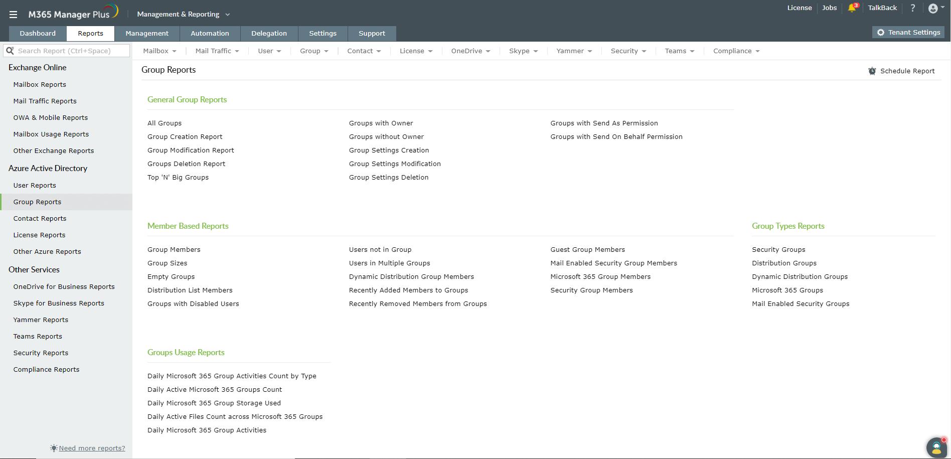Microsoft 365 Group Reports