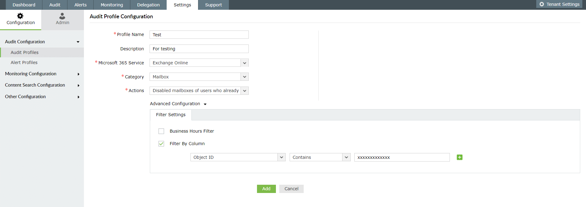 Create profiles to audit Exchange Online mailboxes