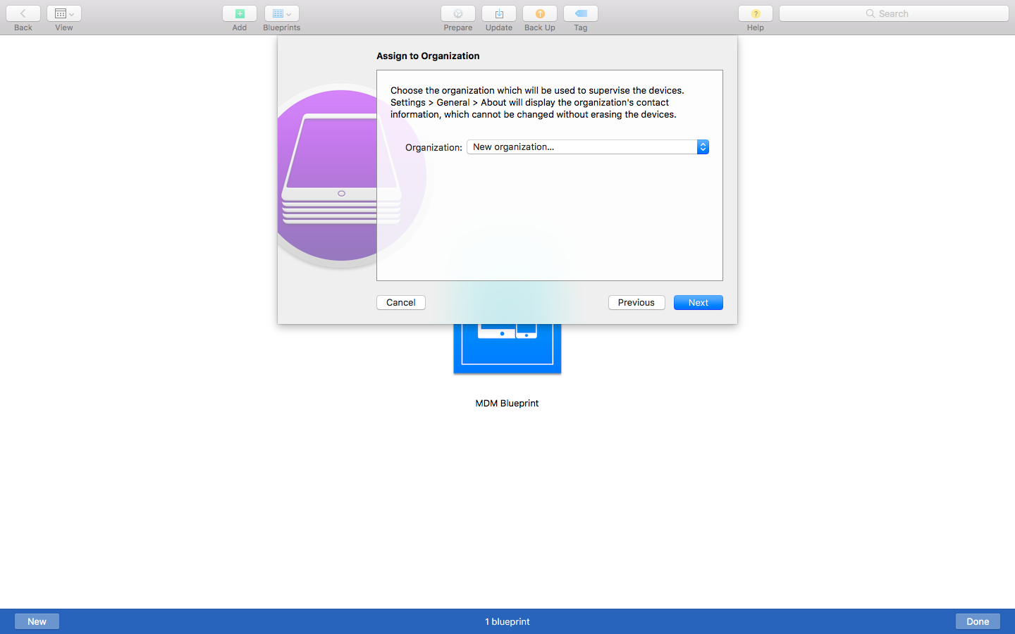 Creating New Organization on Apple Configurator 2