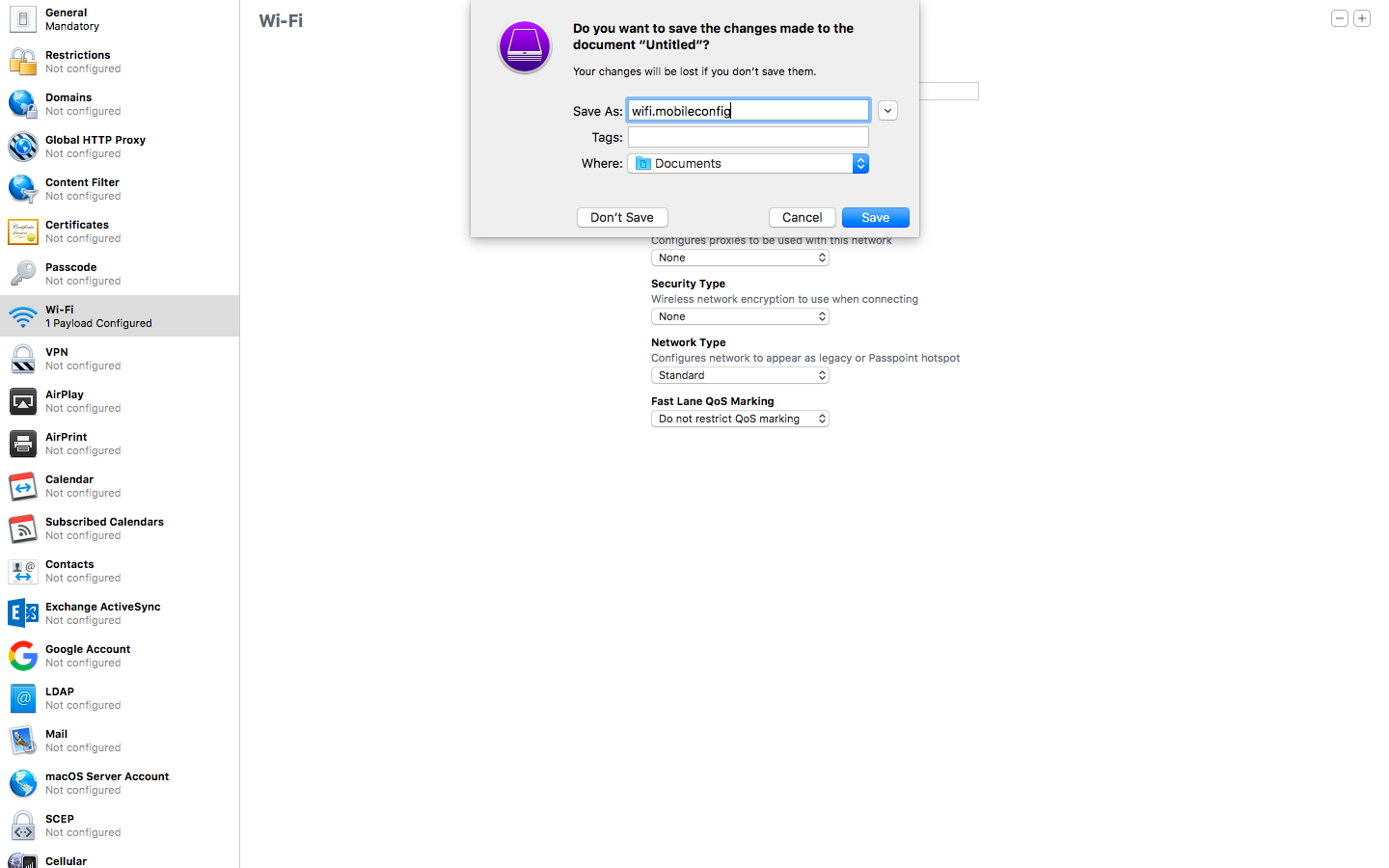 Configuring Wi-Fi Profile on Apple Configurator 2