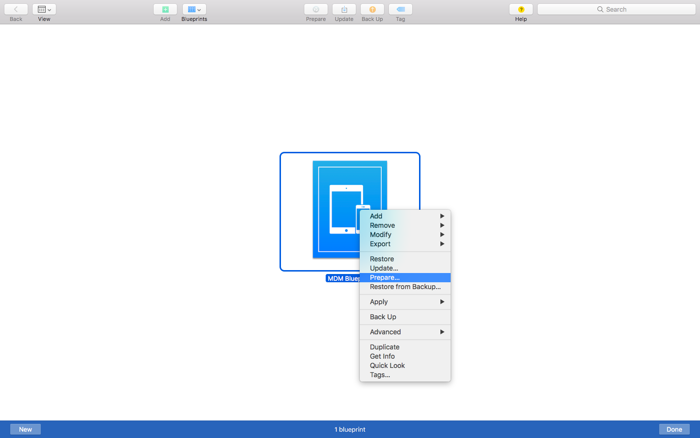 Preparing the Blueprint on Apple Configurator 2