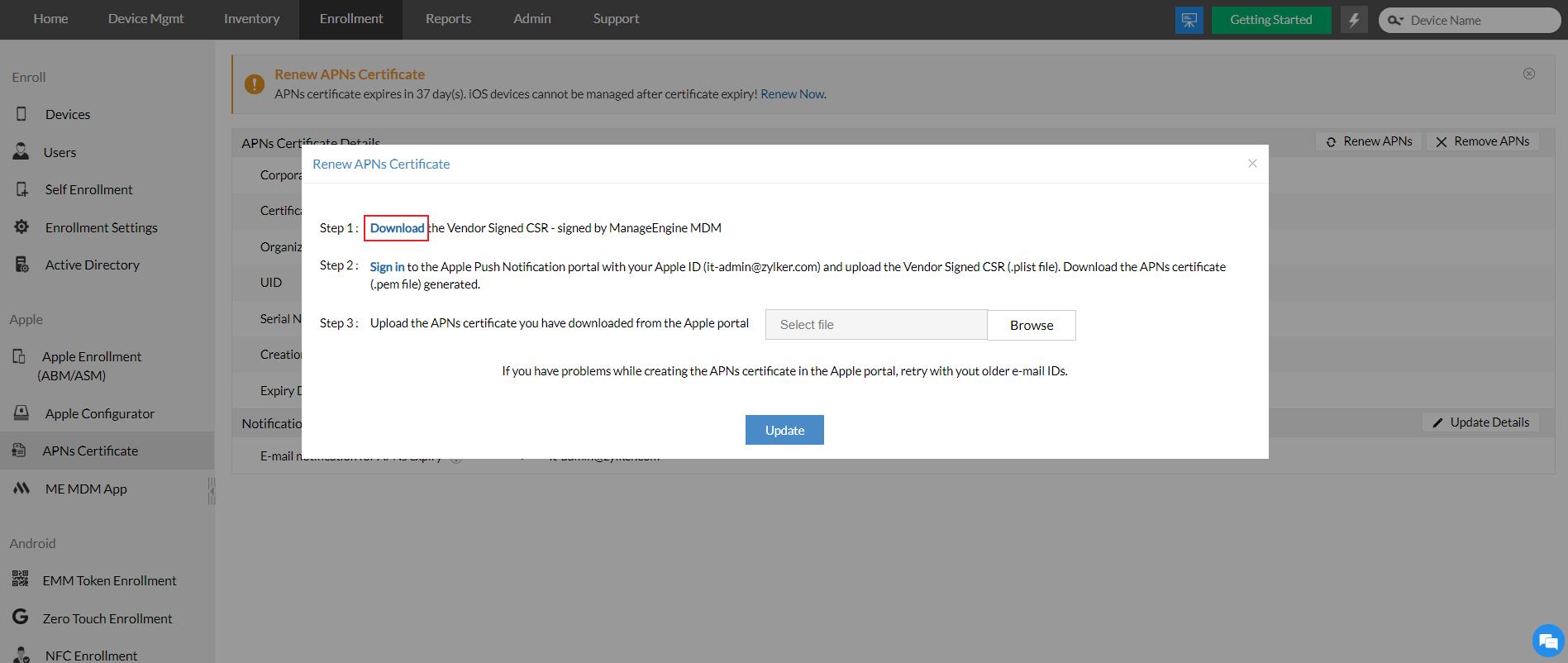 APNs certificate renewal by downloading the Vendor Signed CSR