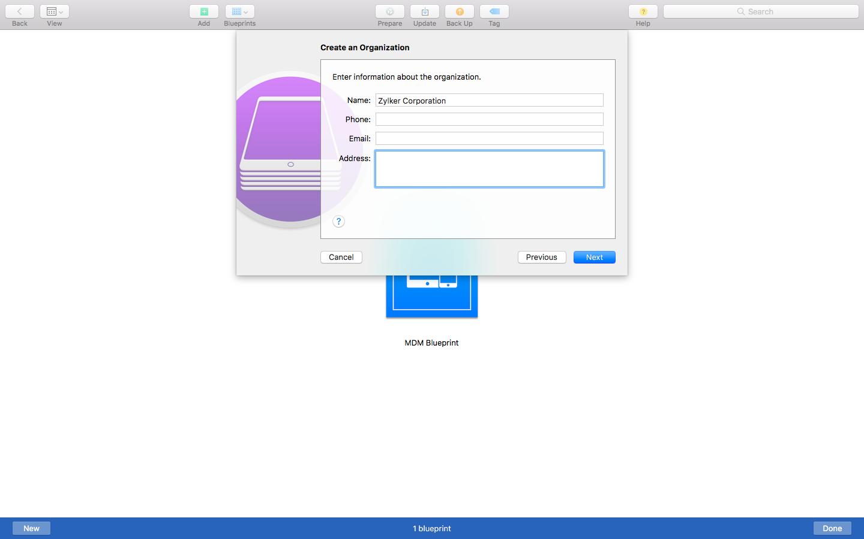 Adding Organization on Apple Configurator