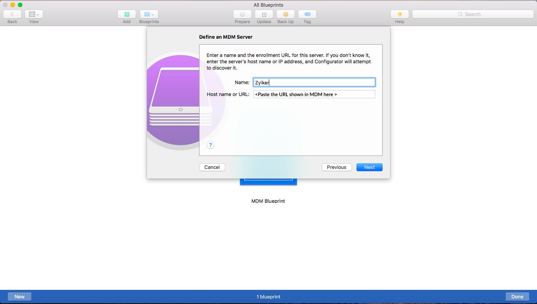 Adding MDM Server Details on Apple Configurator