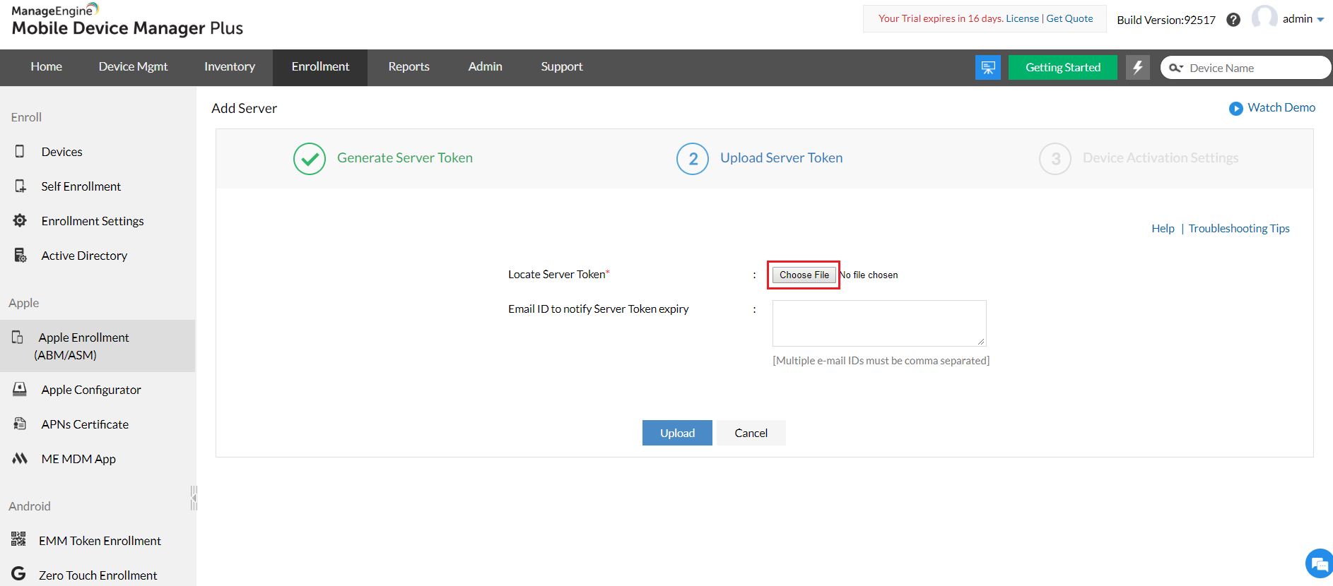 Upload server token from ABM portal