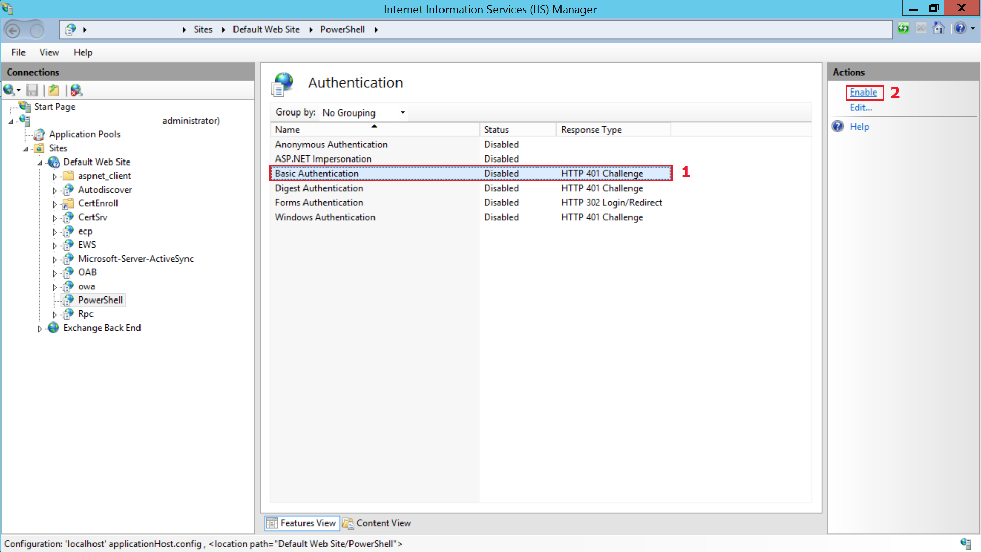 Step 2 for enabling Basic Authentication for Conditional Exchange Access