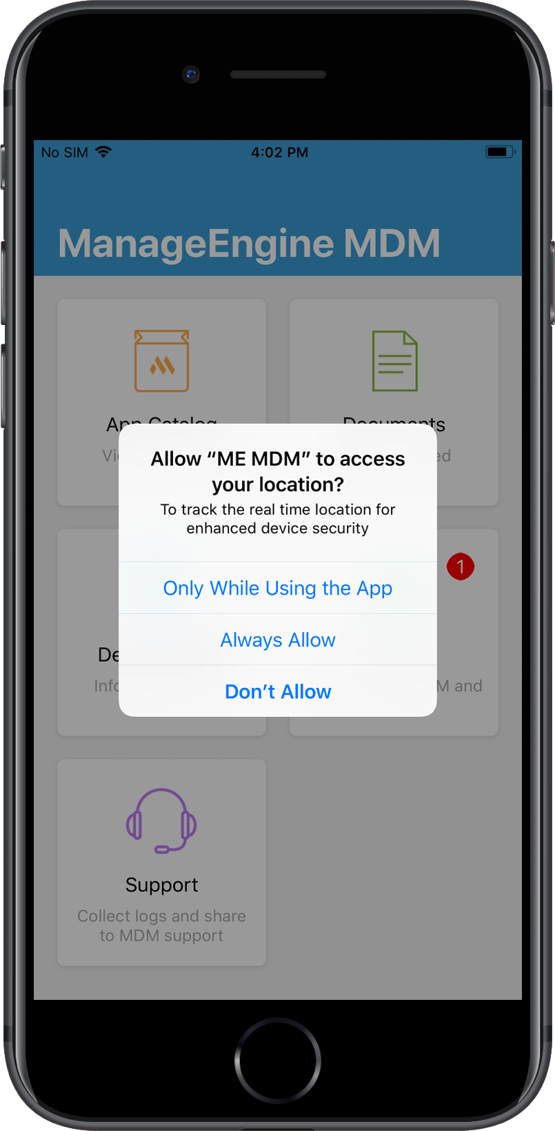 Granting permission to ME MDM app for Geolocation tracking