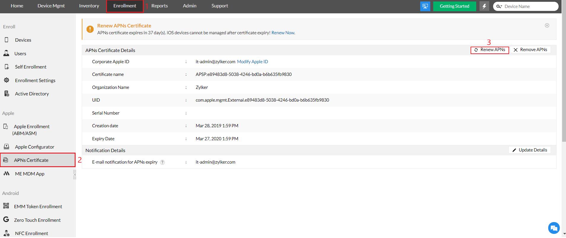 Renew APNs certificate Message on MDM server