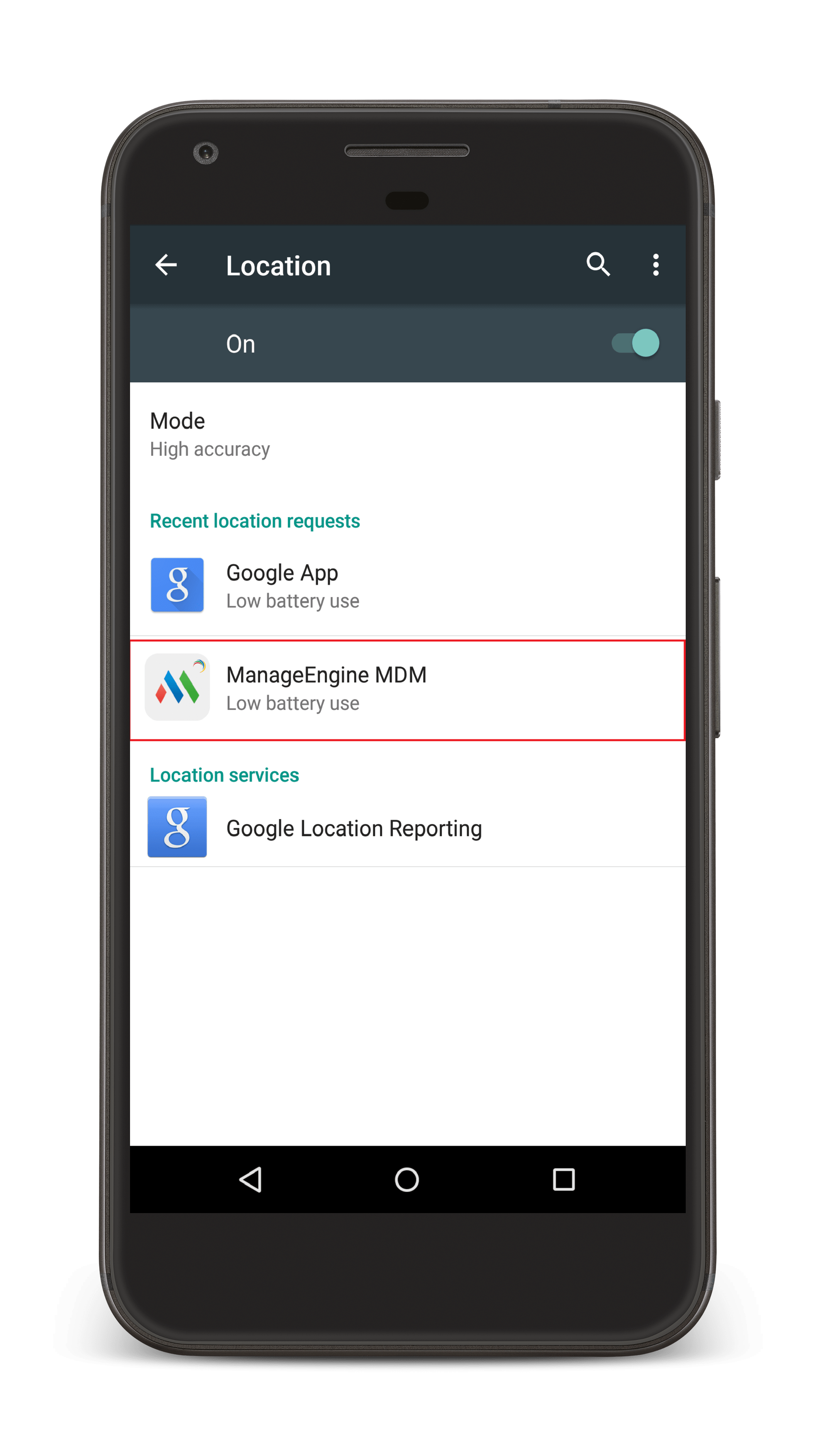 Granting Permission to ME MDM app for Android Geotracking