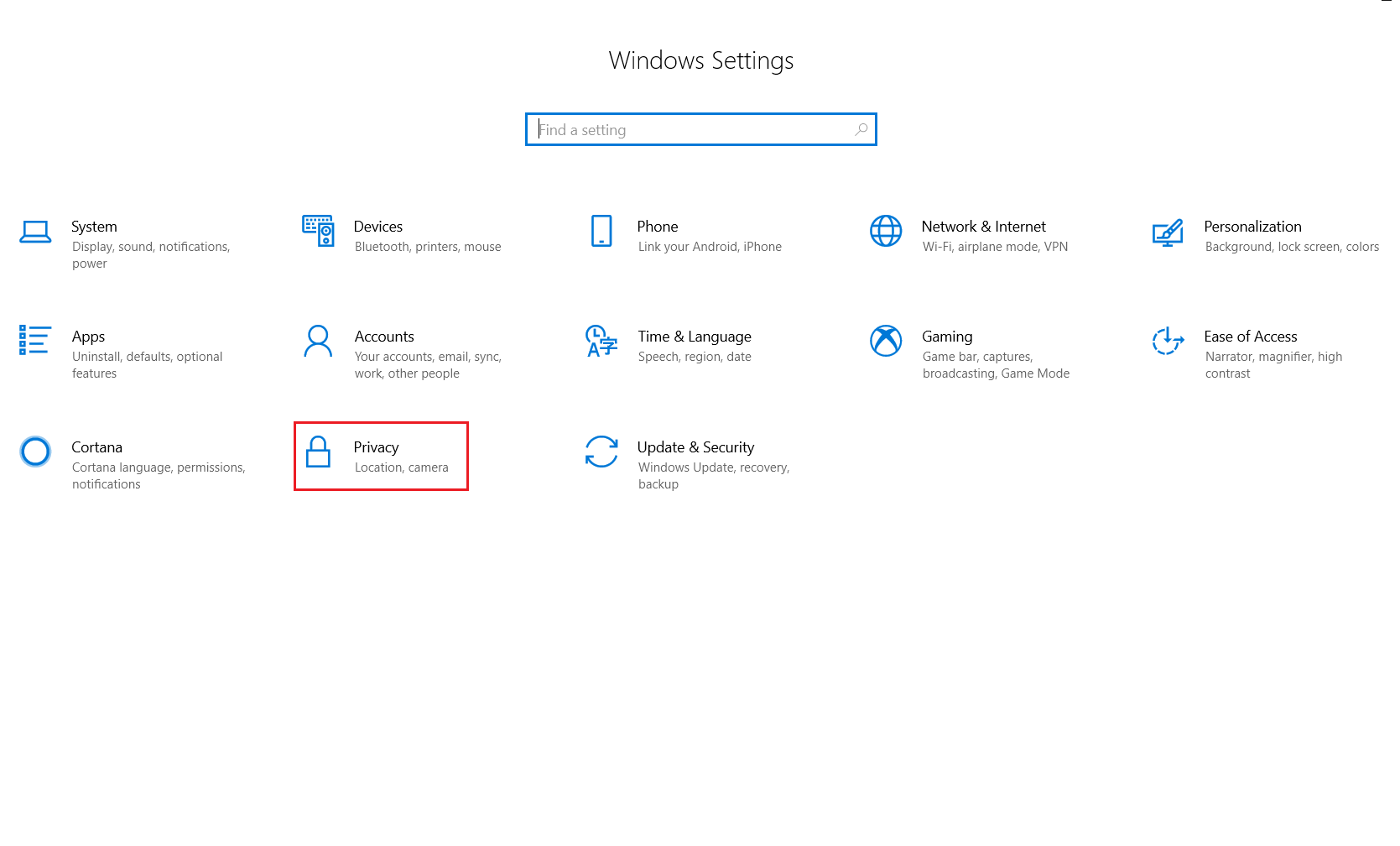 Navigating to Privacy under Windows 10 Settings to enable Location services for Geolocation tracking