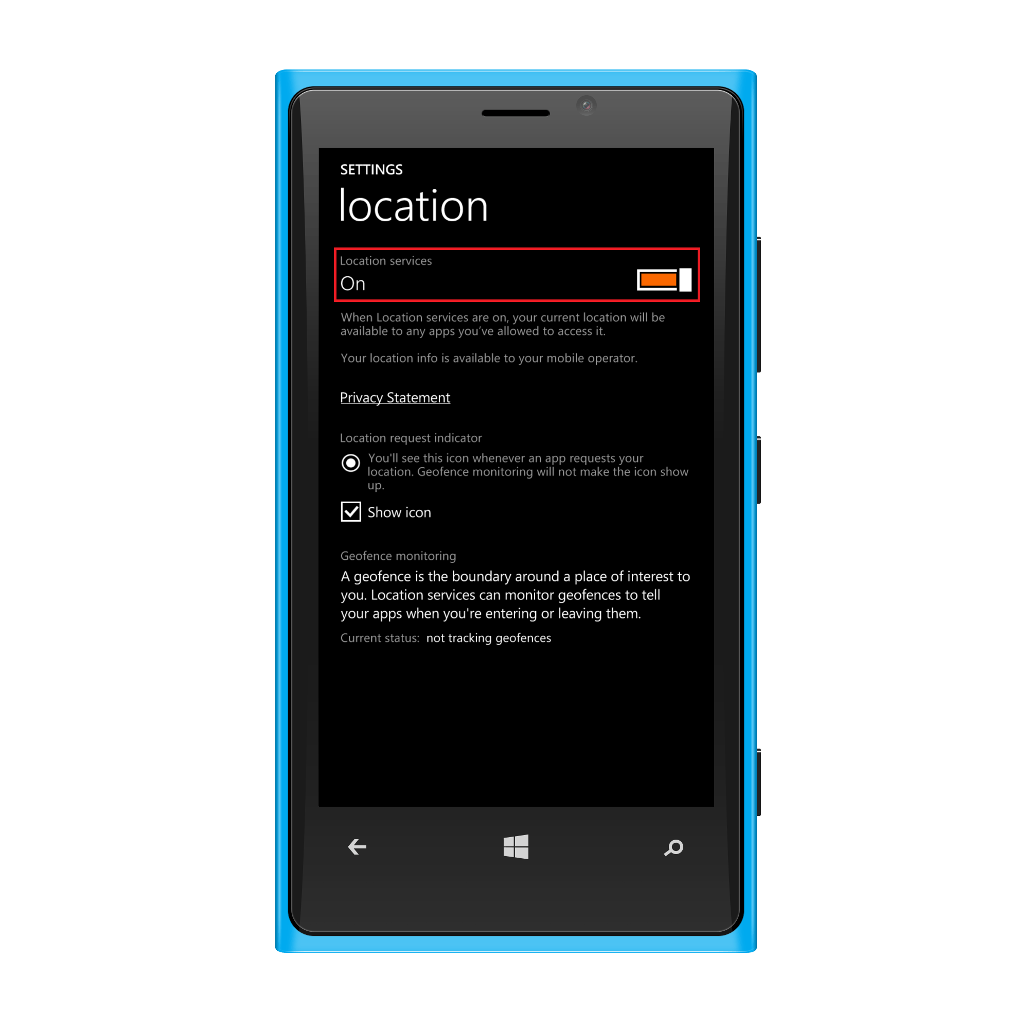 Turn on Location Services for Geotracking Windows phone