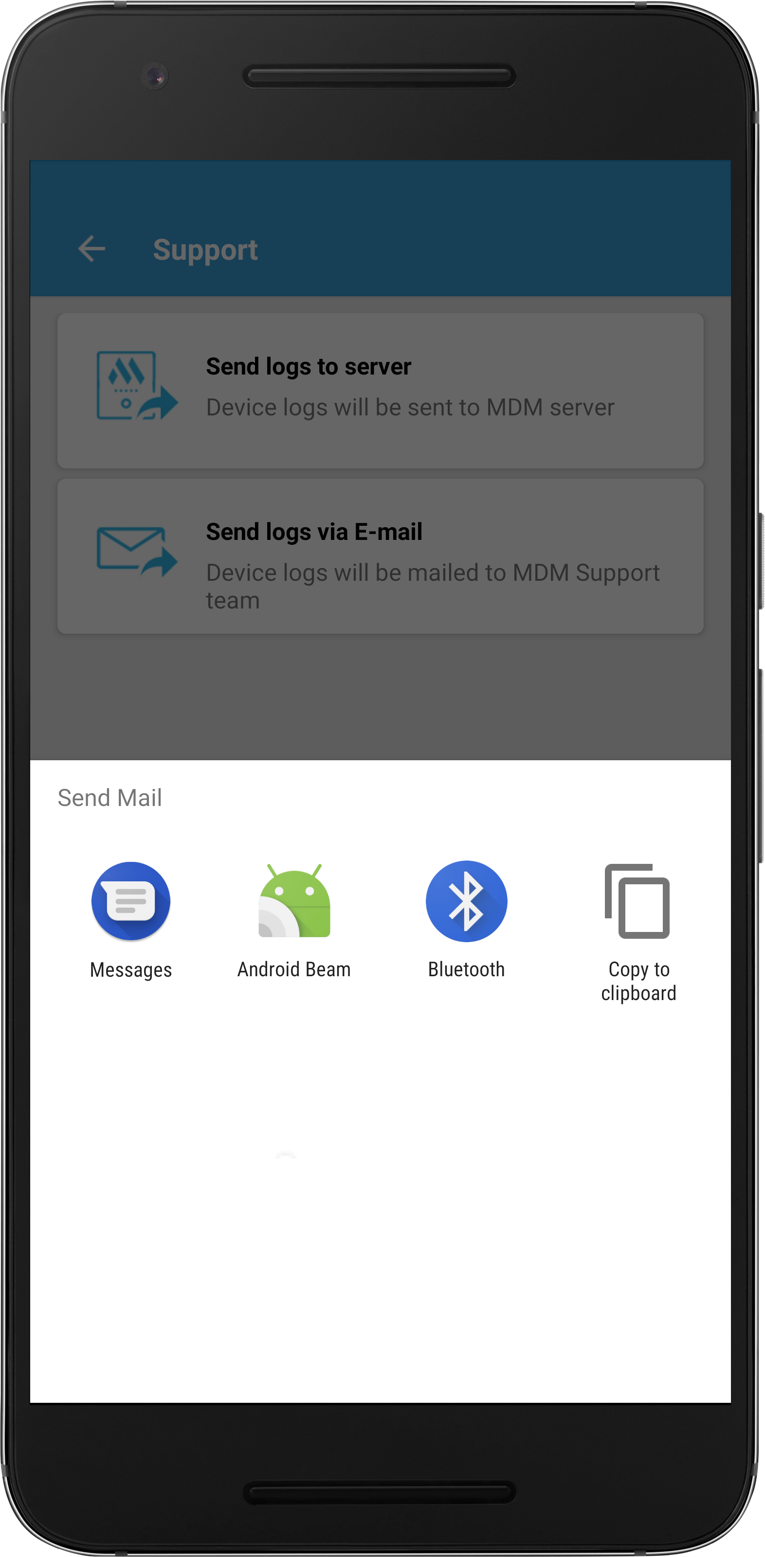 Send logs to MDM support - sever and device logs | ManageEngine