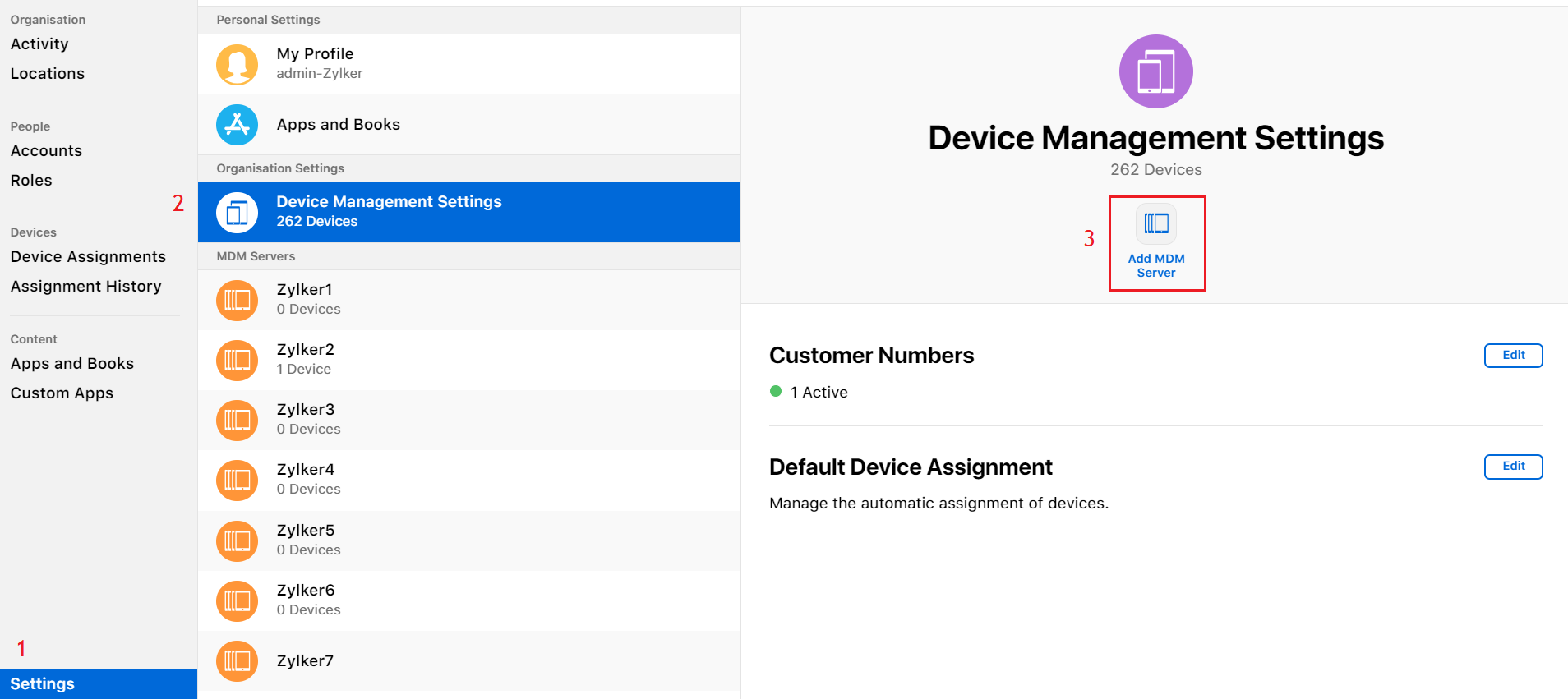Agregar servidor MDM en Apple School Manager