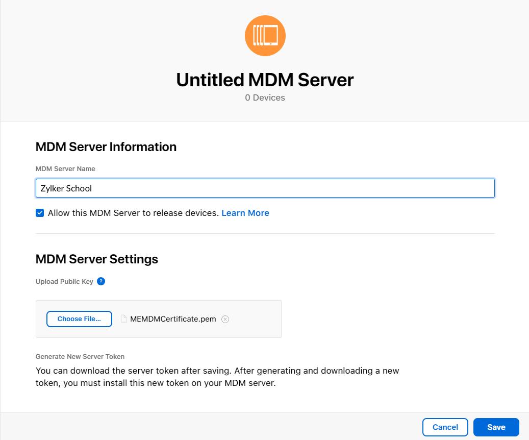Creación de token de servidor en ASM
