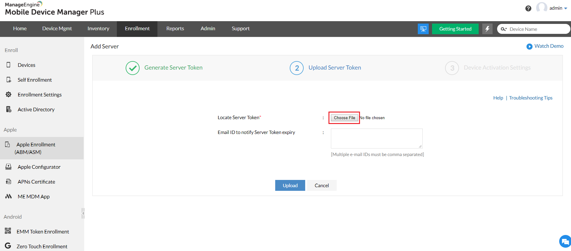 Uploading Apple School Manager (ASM) Server Token to the MDM server, to complete integration