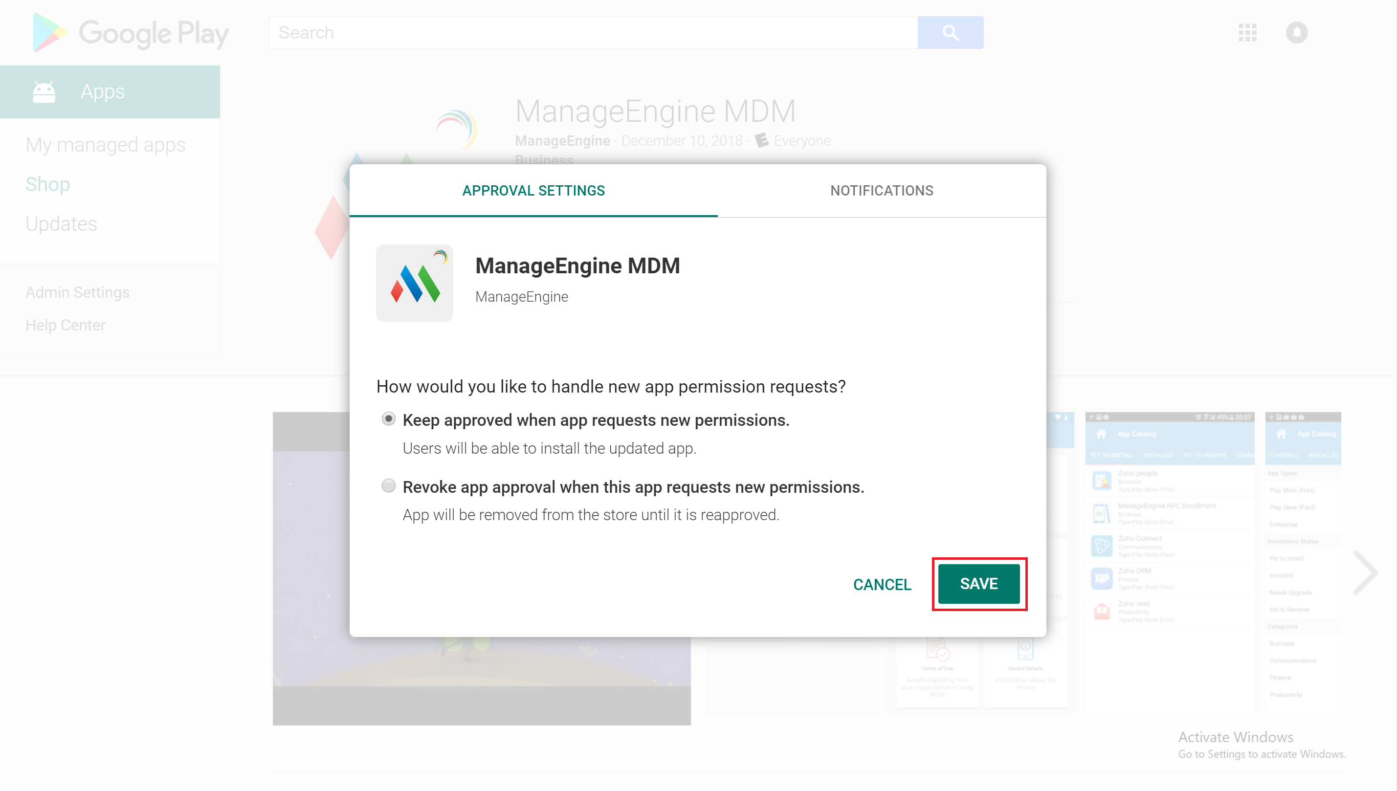 Updating MDM app using Play for Work