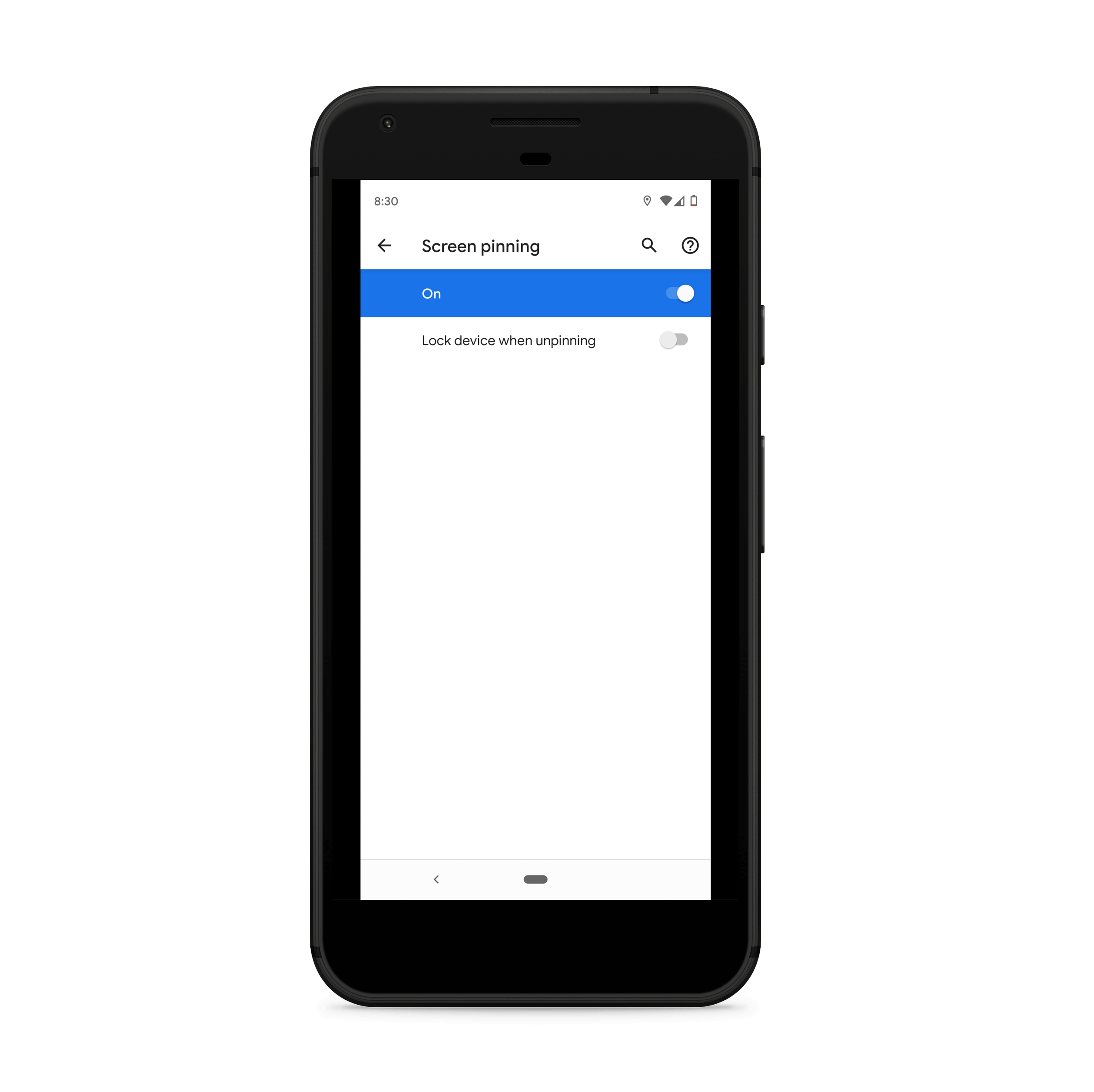 Enabling Screen Pinning on Android Devices and choosing unlock preferences