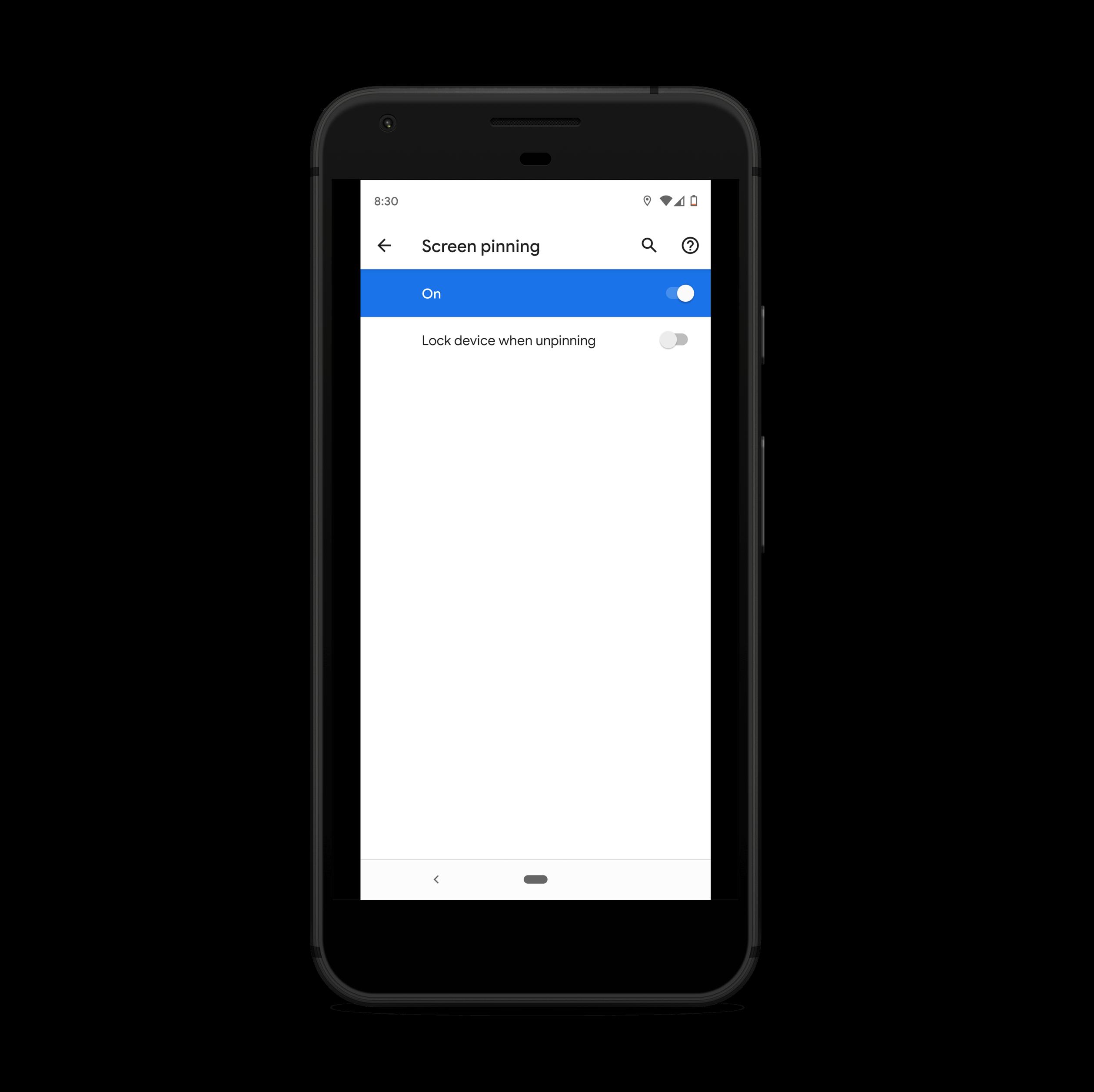 Habilitar la fijación de pantalla en dispositivos Android
