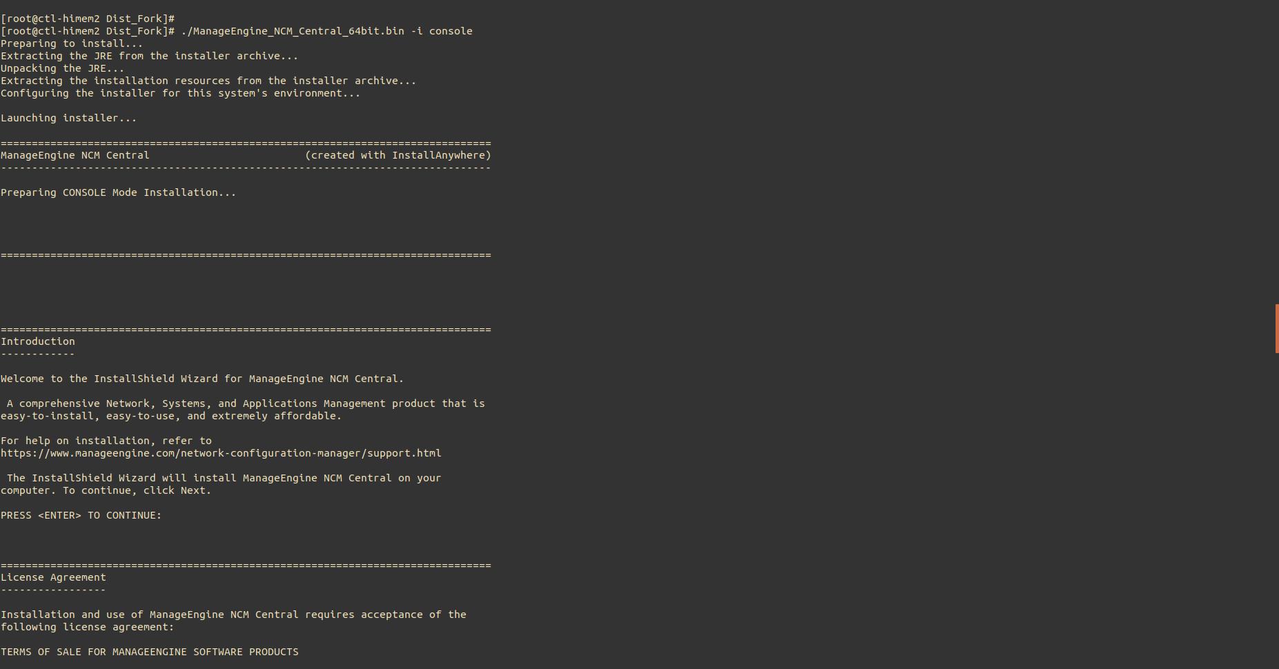 NCM Central Linux Installation Step1