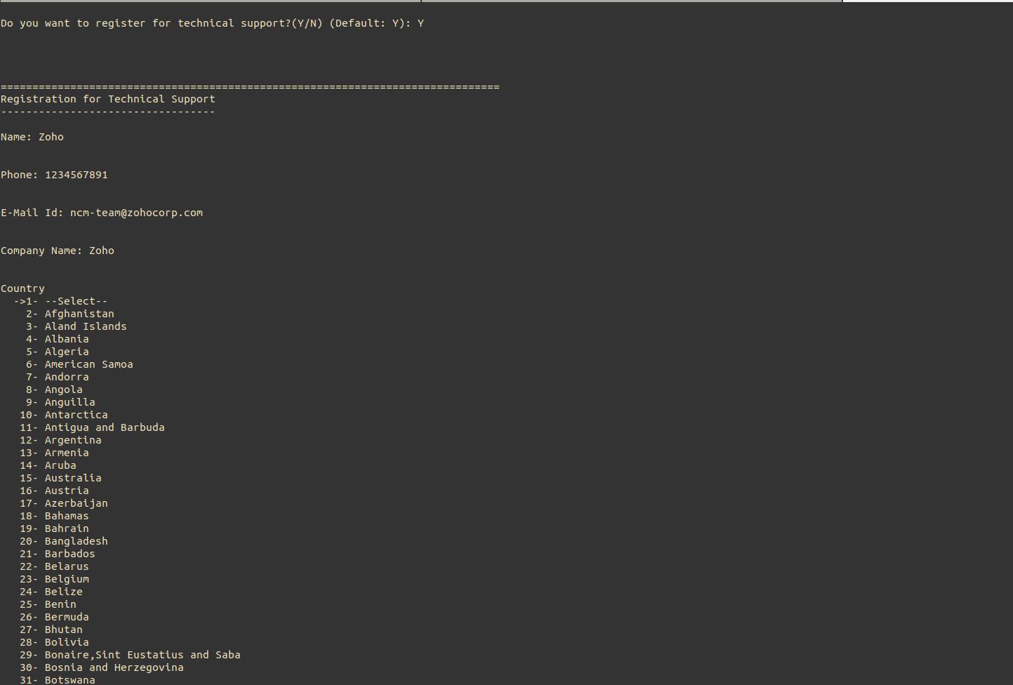 NCM Central Linux Installation Step3