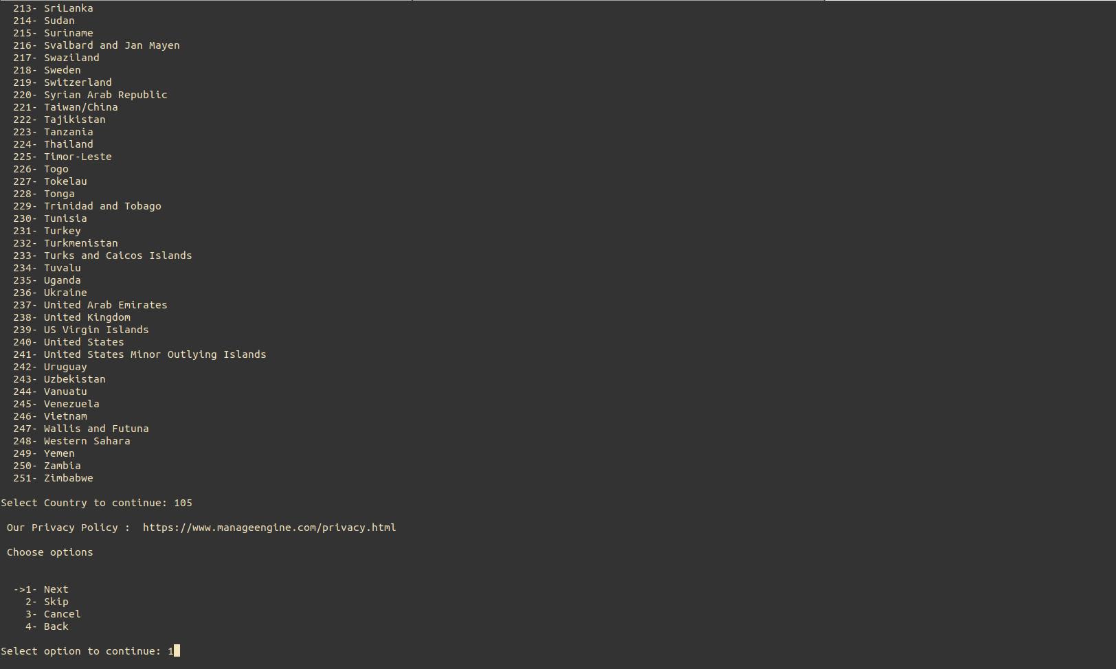 NCM Central Linux Installation Step4