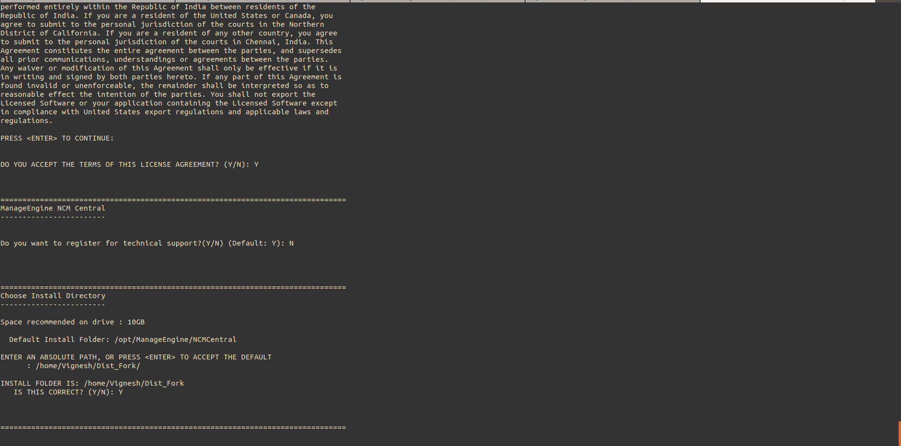 NCM Central Linux Installation Step5