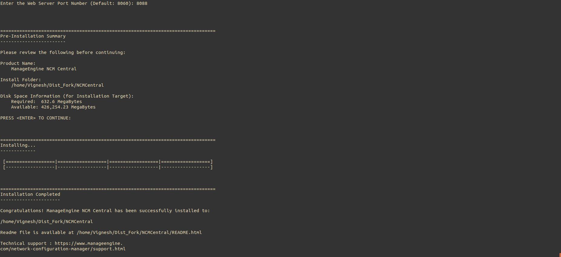 NCM Central Linux Installation Step7