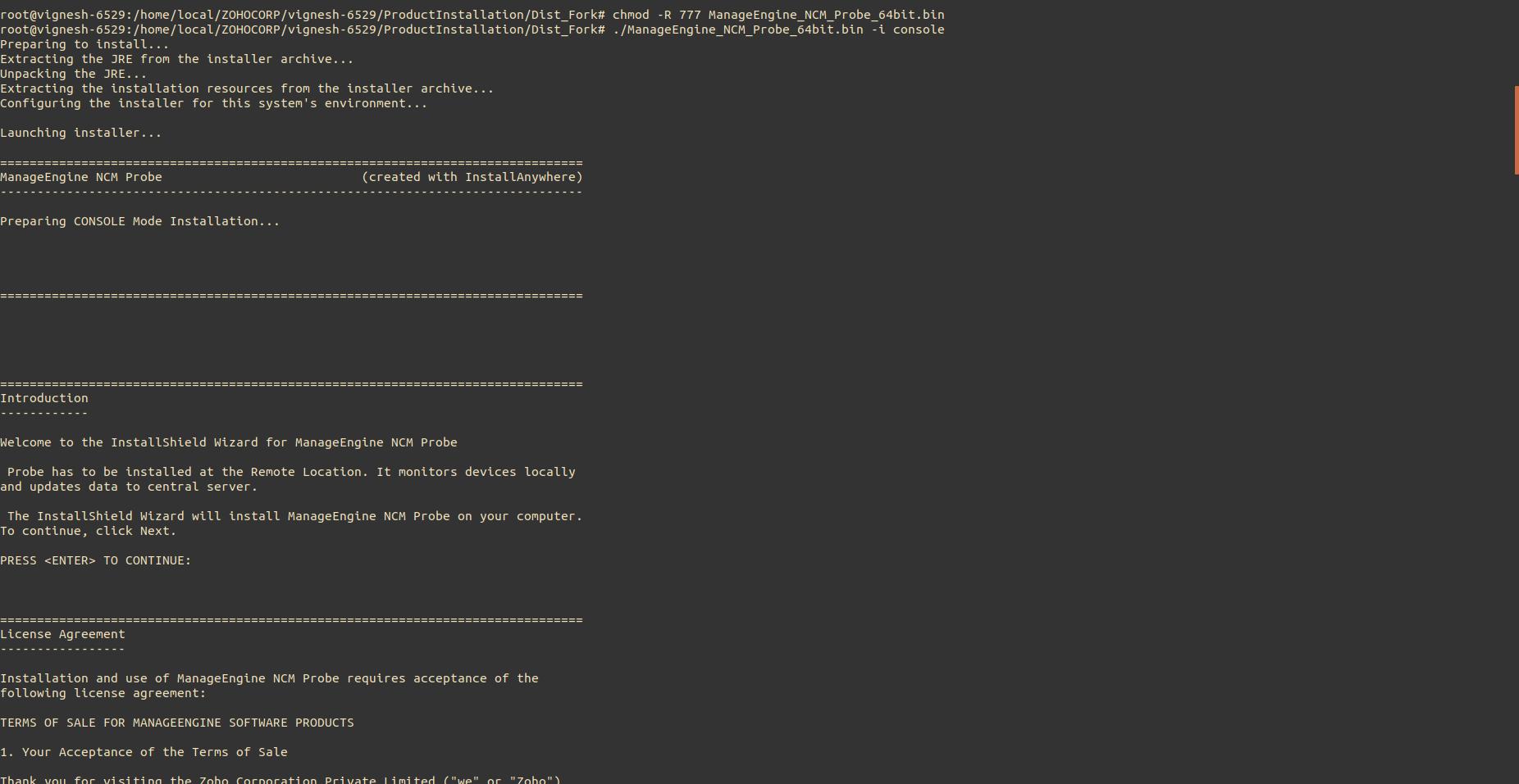 NCM Probe Linux Installation Step1