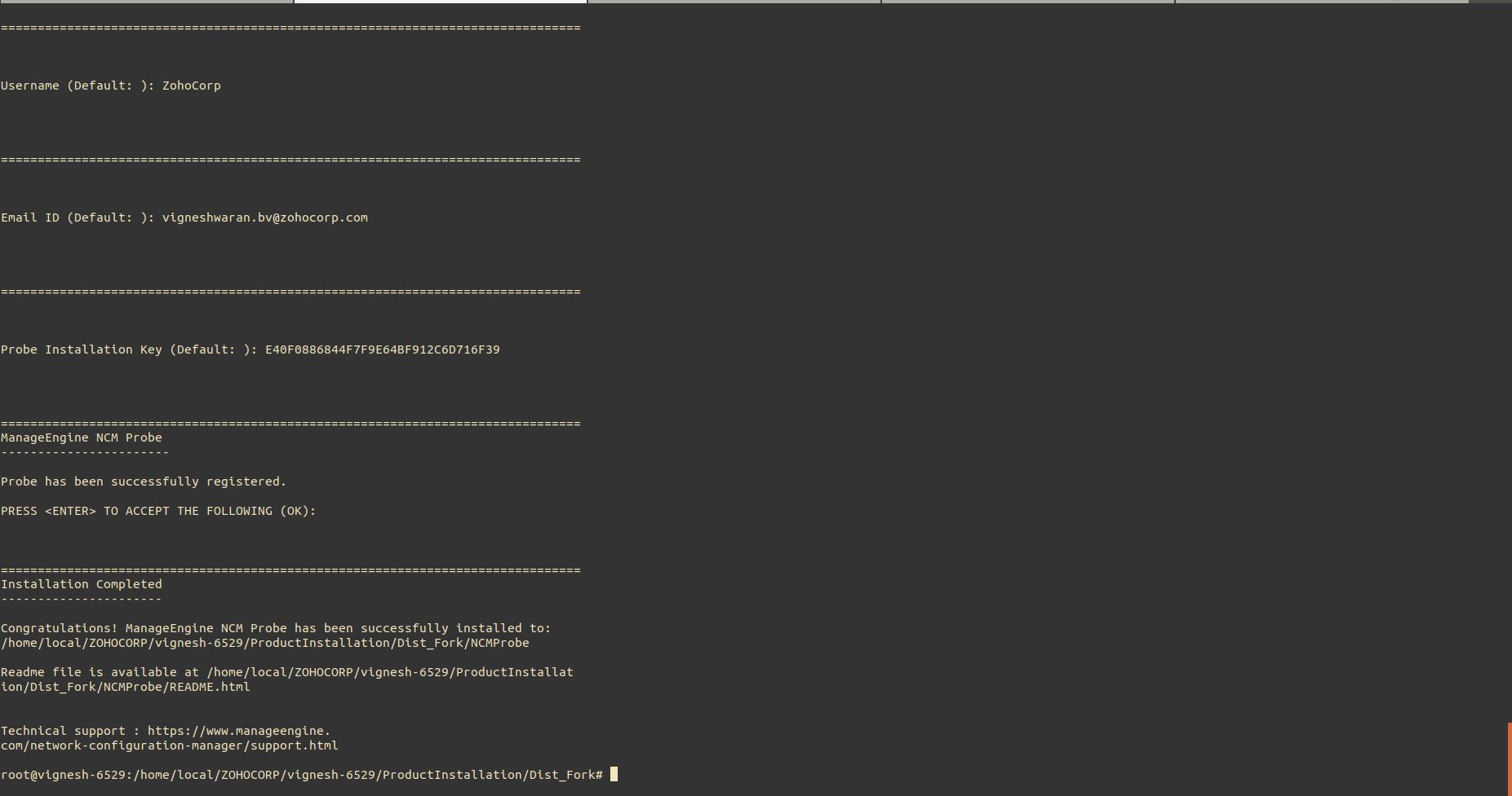 NCM Probe Linux Installation Step9