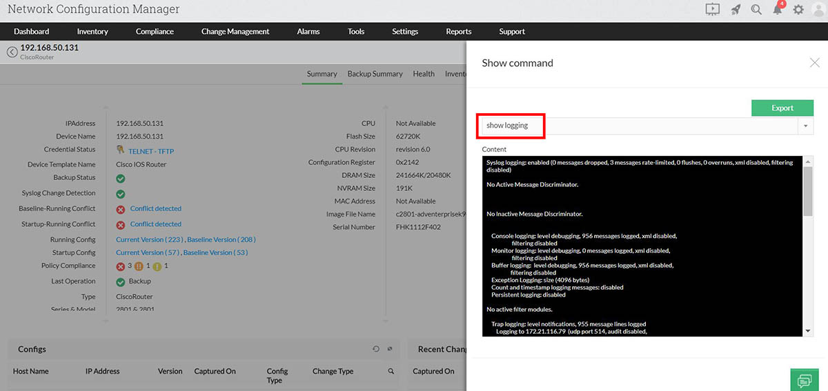 Command execution for event logging details: Show Logging