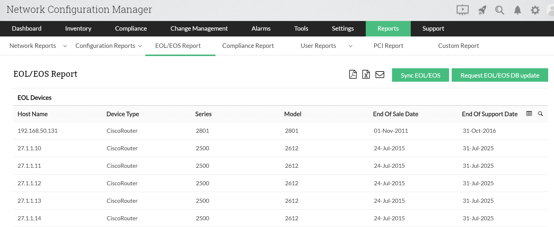 EOL/EOS reports with Network Configuration Manager
