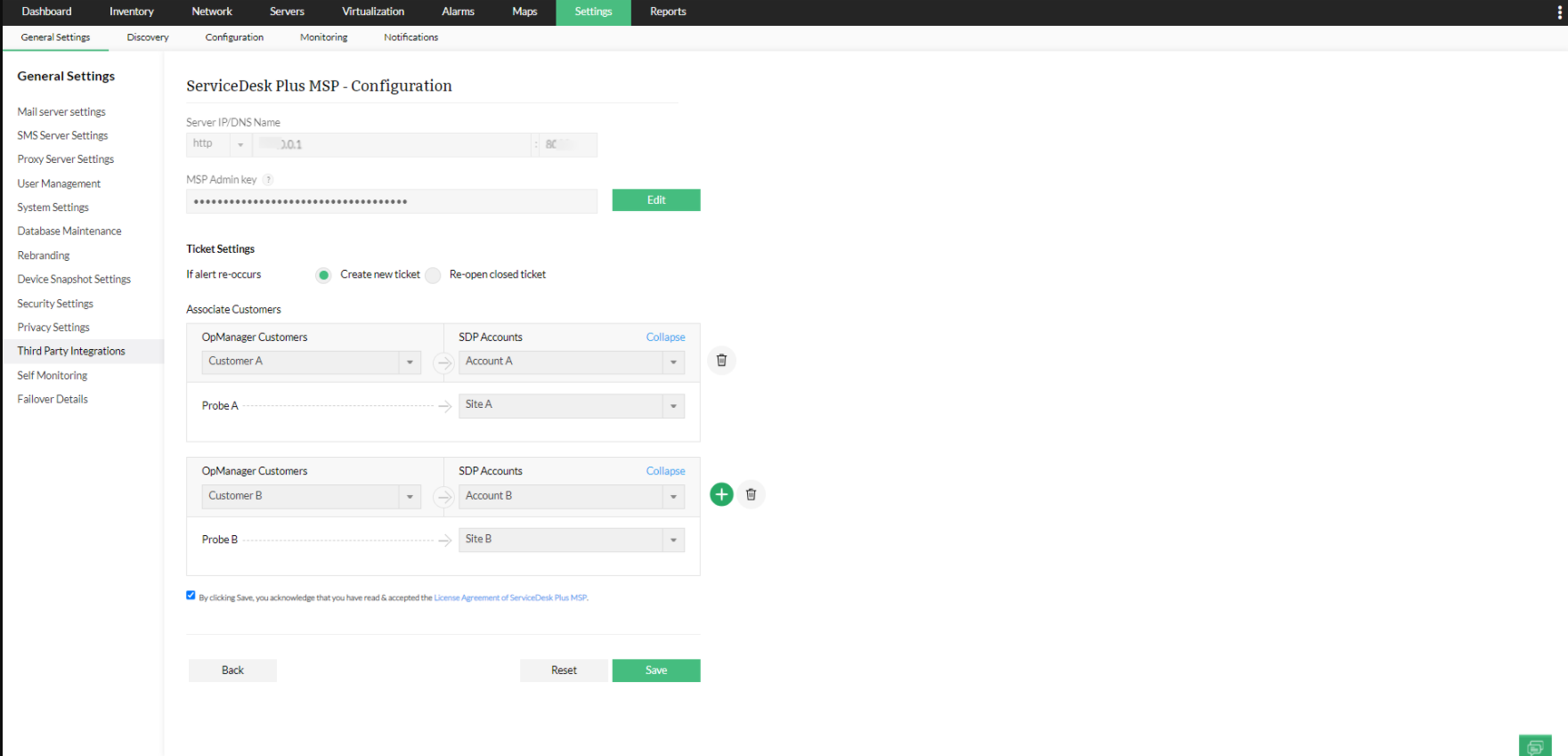 SDP MSP integration with OpManager MSP - ManageEngine OpManager MSP