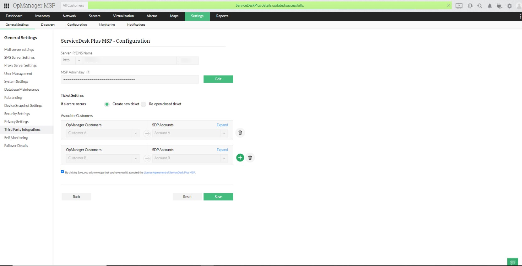 Integrating OpManager MSP with ServiceDesk Plus MSP - ManageEngine OpManager MSP
