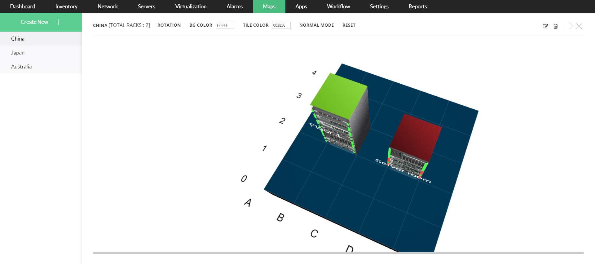 L2 Discovery - 3D Floor view - ManageEngine OpManager