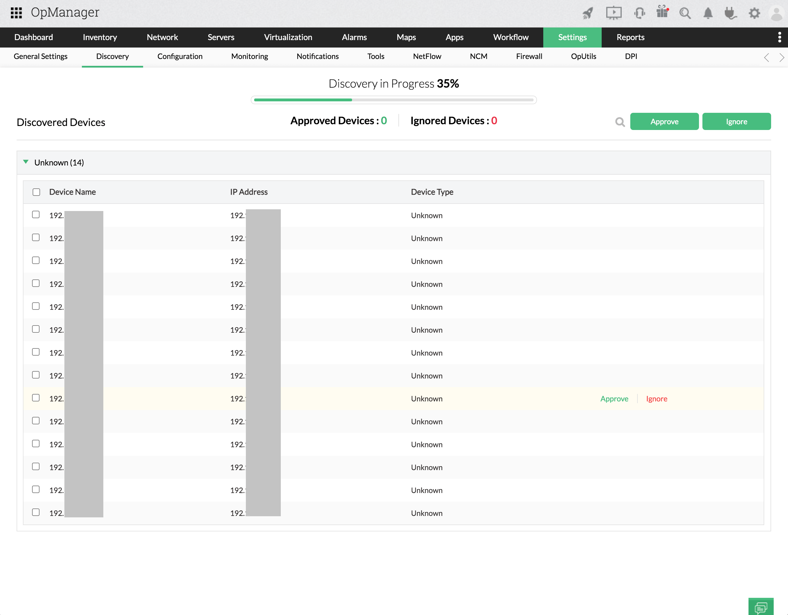Discovery progress notification page - OpManager