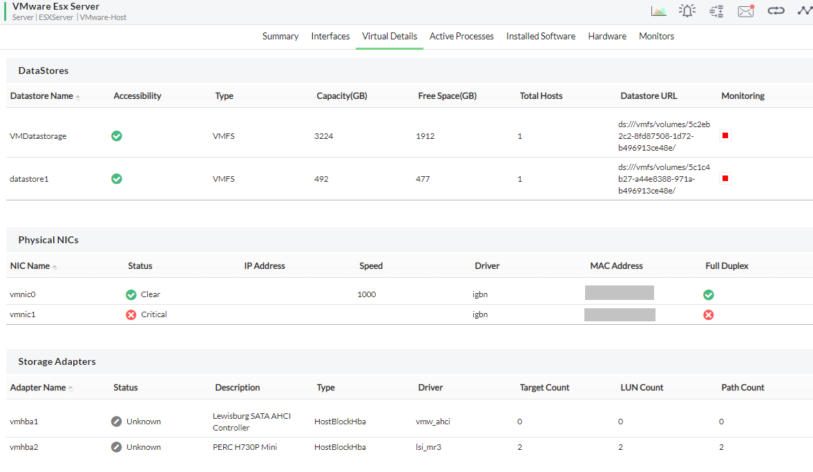 Monitoring VMware ESX server - Associated device details