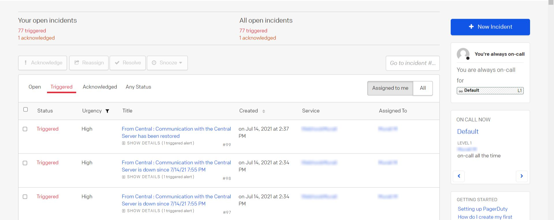 Screenshot of alerts from OpManager being captured as incidents in PagerDuty