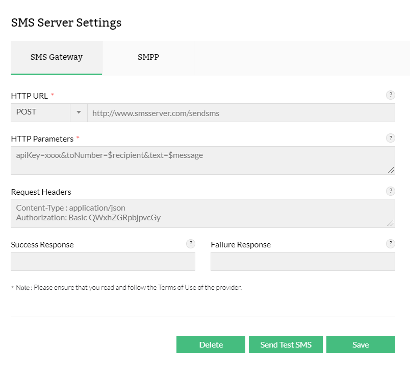 SMS Server Settings | OpManager Help